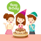 Girl And Friend With Cake On Birthday Party. Birthday Party Banquet Feast Celebration Gift Stock Photography