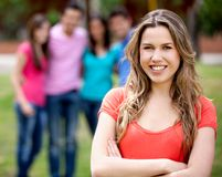 Girl with friends Stock Photography
