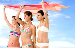 Girl friends at the beach Royalty Free Stock Images
