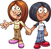 Girl friends. Cartoon girl friends holding hands. Vector clipart illustration with simple gradients. All in a single layer royalty free illustration