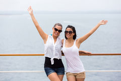 Girl friends cruise Stock Image