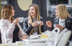 Girl friends drinking coffee Royalty Free Stock Image