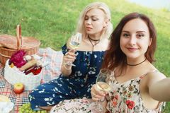 Girl friends have a wine and making selfie Stock Photos