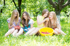 Girl friends having fun eating strawberries Royalty Free Stock Image