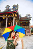 Girl friends looking around at the heritage site Royalty Free Stock Images