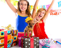 Girl friends party dancing with presents and puppy Royalty Free Stock Photo