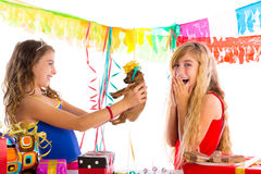 Girl friends party excited with puppy dog present Royalty Free Stock Photography