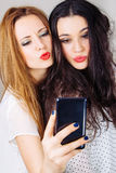 Girl friends pouting for a selfie Stock Image