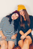 Girl friends resting after a party Royalty Free Stock Image