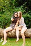 Girl friends selfie sitting on a trunk Stock Image