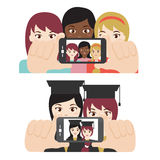 Girl friends taking selfie. Vector of girl friends taking selfie Stock Illustration