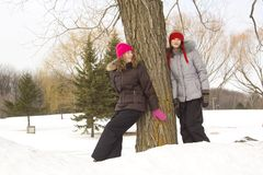 Girl friends in winter Stock Photos