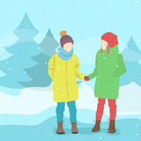 Girl friends in winter clothes Winter landscape, snow Vector Royalty Free Stock Photo