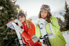 Girl Friends On Winter Vacation Stock Image