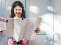 Girl Friendship Hangout Traveling Holiday Map Concept Stock Images