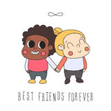 Girl friendship illustration (greeting card) with two girls and infinity symbol. Best friends forever. Royalty Free Stock Image