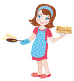 Girl fries pancakes. Vector Illustration. Chef girl fries pancakes on Shrovetide it is isolated on a white background Royalty Free Illustration
