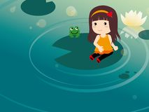 Girl and The frog Stock Photos