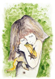 Girl and frog stock illustration