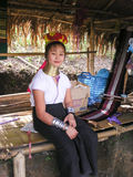 Girl From Long Neck Karen Tribe Village Thailand With Handcrafts