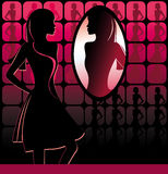girl in front of a big mirror vector illustration