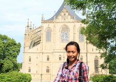 Girl in front of Cathedral of St. Barbara Stock Photo