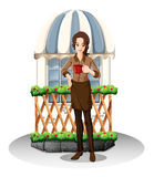 A girl in front of the coffeehouse. Illustration of a girl in front of the coffeehouse on a white background Royalty Free Stock Photos