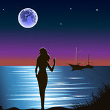 Girl in front of moonriver. Vector illustration. Dark silhouette of the girl on the shore in front of moonlight on the water, hand signals schooner standing on Stock Photos