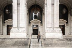Girl in Front of New York City Public Library. Photo of Girl in Front of New York City Public Library Royalty Free Stock Photo