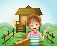 A girl in front of the nipa hut. Illustration of a girl in front of the nipa hut Vector Illustration