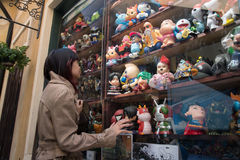 Girl in front of toys shelf at Palio Khao Yai Thailand Stock Photo