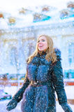 Girl in frost. In a winter sheepskin coat Royalty Free Stock Images