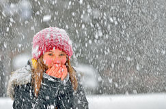 Girl frozen in snow Royalty Free Stock Images