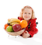 Girl and fruit Royalty Free Stock Photos