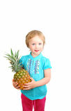 Girl and fruit Royalty Free Stock Image