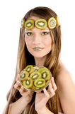 Girl with fruit make up, in the form of kiwi Stock Photography