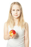Girl and fruit. Teen with apple Stock Image
