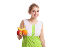 Girl with fruits Stock Image