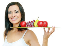 Girl with fruits Royalty Free Stock Image