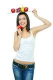Girl with fruits Stock Photography