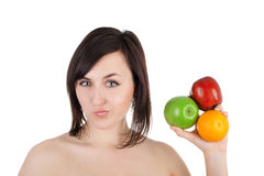 Girl and fruits Royalty Free Stock Photo