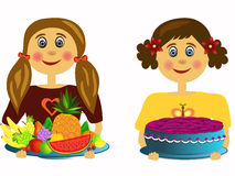 Girl with fruits and girl with cake Royalty Free Stock Photo
