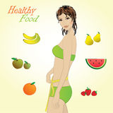 Girl and fruits, vector infographics Royalty Free Stock Images