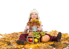 Girl with fruits and vegetables on autumn leaves Royalty Free Stock Images