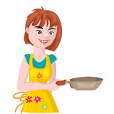 Girl with a frying pan Stock Photo