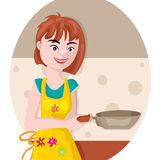 Girl with a frying pan Royalty Free Stock Image
