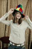 Girl with fun hat. Holiday. Girl with fun hat Stock Image