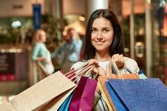 Girl fun shopping at mall Royalty Free Stock Images