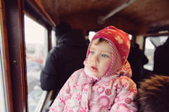Girl in Funicular Royalty Free Stock Photos