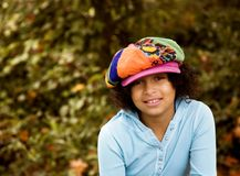 Girl in the funky Hat Stock Images